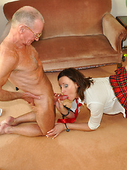 A crazy horny lady banged by two stiff seniors hardcore